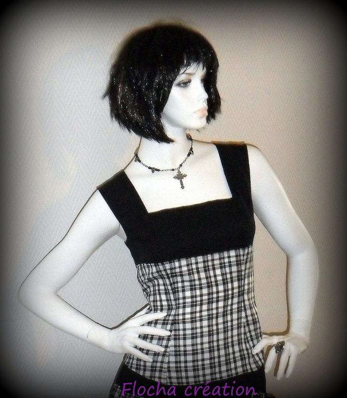 Hokilt noir et petit écossais noir et blanc