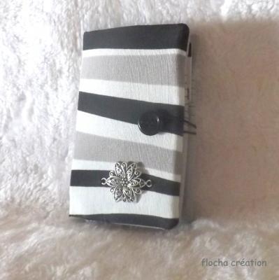 """Porte cartes, mini portefeuille """"Chichi"""" gris à vagues"""