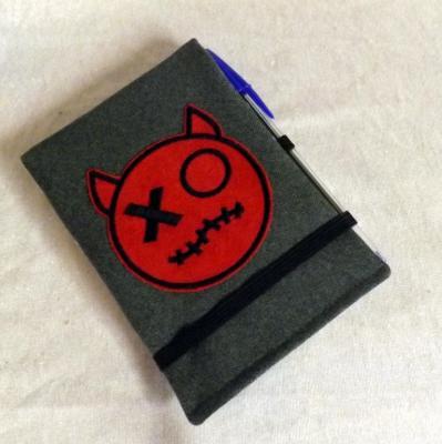 """Housse de carnet A6 """"Handy"""" grise à diable rouge"""