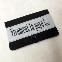"""Porte chéquier """"Bankine"""" noir et gris """"Vivement la paye !"""""""
