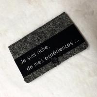 """Porte chéquier """"Bankine"""" noir """"Je suis riche ... """""""