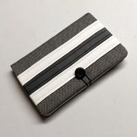 """Porte chéquier et cartes """"Bankine"""" gris chiné, blanc et gris"""