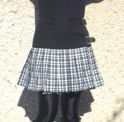 """Jupe kilt """"Flokilt"""" noire et écossais blanc et noir"""