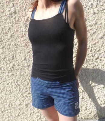 """Combi-short """"Krach"""" noire et carreaux bleus"""