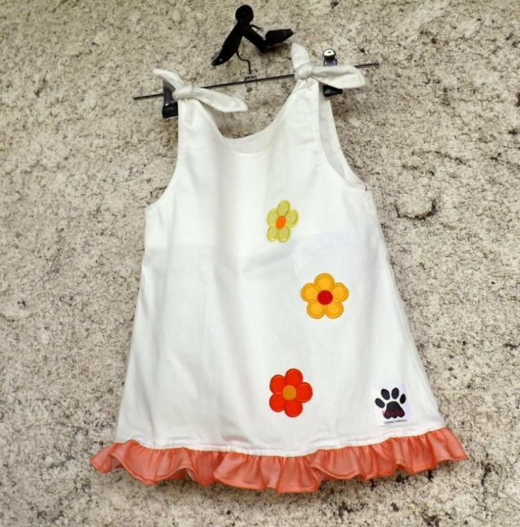 """Robe fille """"Mignone"""" 3/4 ans blanche à fleurs"""