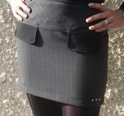 Jupe de tailleur courte Nathy noire et grise