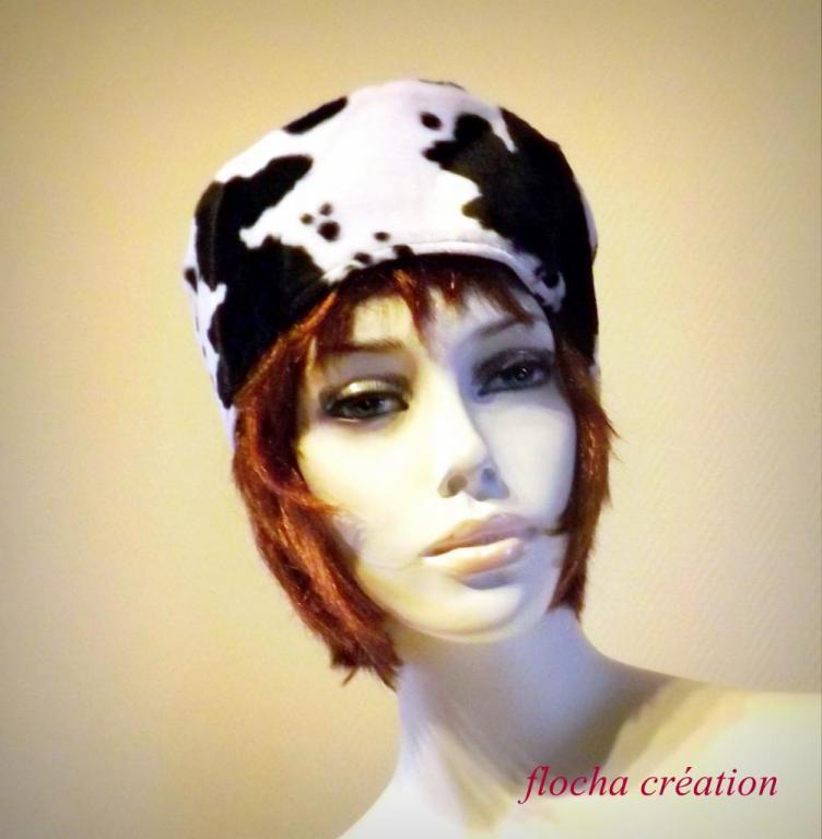 """Chapeau toque """"Nordie"""" bicolore, noir et vache"""