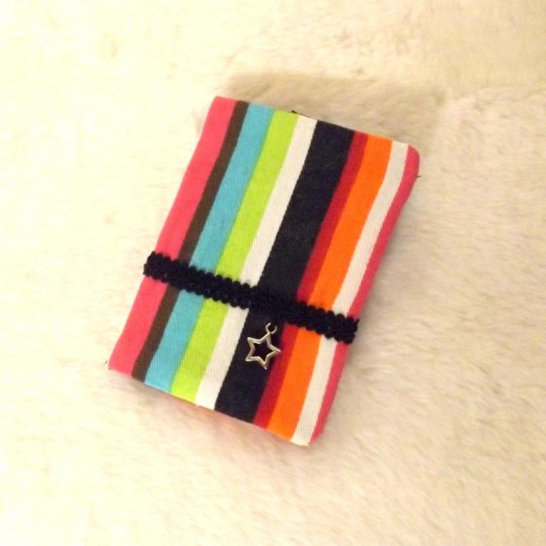 """Porte cartes """"Tébo"""" rayé multicolore et noir"""
