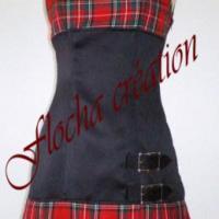 """Robe """"Tookilt"""" noire et grand écossais rouge"""