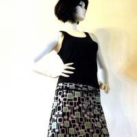 kiny à motifs géométriques blancs et verts