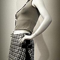 Short-jupe Sixquo noir et écossais noir et blanc