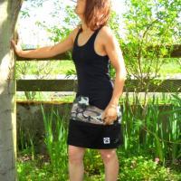 Robe courte Citady noire à poches camouflage
