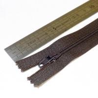 Fermeture à glissière fine 15 cm marron