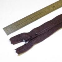 Fermeture à glissière fine 15 cm marron sombre
