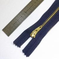 Fermeture à glissière métal 15 cm marine et dorée