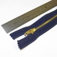 Fermeture à glissière métal 12 cm marine et dorée