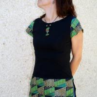 Tunique Nathaflo noire et africain ton vert