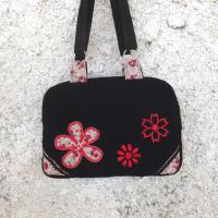 Sac valisette Noxy noir et fleurs rouges