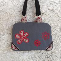 Sac valisette Noxy gris et fleurs rouges